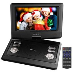 DBPOWER 10.5-Inch Portable DVD Player with Rechargeable Battery, SD Card Slot and USB Port – Black