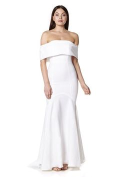 cf0be6ffb4d2 Valentina Bardot Maxi Dress with Fishtail Train