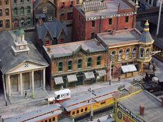 A HO Scale town scene @ http://www.hobbylinc.com/model-trains