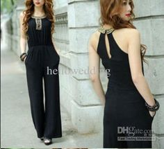 Wholesale Hot Sale elegant Slim Noble black jumpsuits with beaded Evening / Formal Dresses, Free shipping, $87.96/Piece | DHgate Mobile