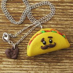 Mustache Taco Polymer Clay Necklace by rapscalliondesign on Etsy Polymer Clay Necklace, Polymer Clay Charms, Polymer Clay Creations, Polymer Clay Art, Clay Projects, Clay Crafts, Biscuit, Clay Magnets, Kawaii Jewelry