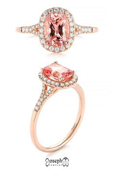 Pink Champagne Sapphire And Diamond Halo Engagement Ring Floral Engagement Ring, Filigree Engagement Ring, Cushion Cut Engagement Ring, Classic Engagement Rings, Designer Engagement Rings, Halo Engagement, Pink Champagne, Diamond Cuts, Sapphire