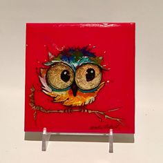"""Alcohol Ink Owl #3, Watercolor Of Baby Owl, Whimsical Colorful Alcohol Ink Art Of Owl, Mixed Media of Woodland Owl, 4""""x4"""" by YakiArtist by YakiArtist on Etsy"""