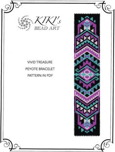 Peyote pattern for bracelet - Vivid treasure peyote bracelet pattern in PDF - instant download