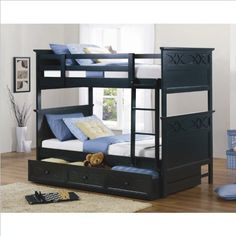Homelegance Sanibel Twin over Twin Bunk Bed in Black Sanibel Collection. Black Finish. Cottage Style. Capping the headboard. Offered in Black or White.  #Homelegance #Home