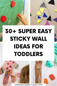 sticky wall activities to keep your toddler entertained! These easy sticky wall activities for toddlers are perfect for independent sensory play. Toddler Sensory Bins, Toddler Preschool, Toddler Crafts, Sensory Play, Kids Crafts, Indoor Activities For Toddlers, Preschool Activities, Motor Activities, Contact Paper Crafts