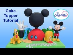 In this cake decorating tutorial I show you how to create a gum paste Mickey mouse cake figure. You could also fondant mixed with t. Mickey Mouse Cake Topper, Minnie Y Mickey Mouse, Bolo Mickey, Mickey Mouse Clubhouse Birthday Party, Mickey Cakes, Mickey Party, 3rd Birthday Cakes, 1st Boy Birthday, Fondant