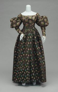 Dress, brocaded silk satin lined with silk satin, 1825-30, American.