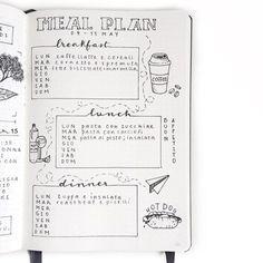 Exemple de présentation de menu hebdo pour bullet journal. A tester rapidement !