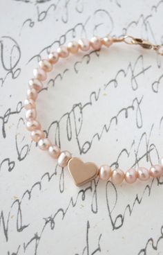 Rose Gold Love Freshwater Pearls Bracelet