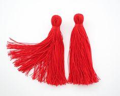 Candy Apple Red Tassel Earrings