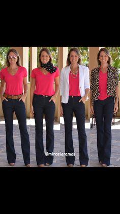 Look de trabalho - look do dia - look corporativo - moda no trabalho - work outfit - office outfit -  spring outfit - look executiva - look de verão  - summer outfit - jeans flare - blusa pink - 2 peças 4 looks