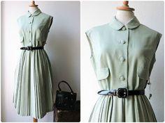 Dress 50s 60s unworn lime green pleated size 36-38 1950s 1960s deadstock light mint green pleated size S-M
