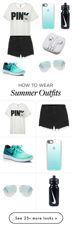 """""""Cute Summer Outfit"""" by kinleighkatlynn-2 on Polyvore featuring Victoria's Secret, rag & bone, Victoria Beckham, Casetify, PhunkeeTree and NIKE"""