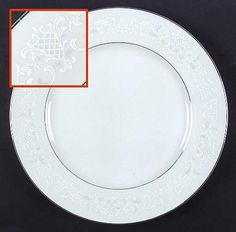 """Florence"" china pattern with white rim and grey scrolls from Sango."