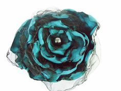 Wedding hair flower, Teal Blue Flower accessory, Made To Order #Etsy #giftideas