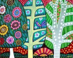 FOLK ART TREES print poster of painting by HeatherGallerArt, $24.00
