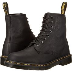 Dr. Martens 1460 8-Eye Boot Soft Leather (Black Carpathian) Men's... ($135) ❤ liked on Polyvore featuring men's fashion, men's shoes, men's boots, shoes, boots, men, shoes - boots, socks and shoes, mens black leather boots and mens leopard print shoes