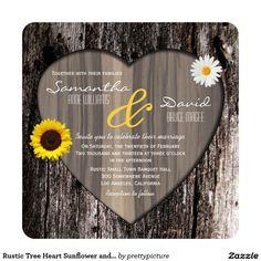 Rustic Tree Heart Sunflower and Daisy Wedding