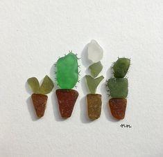 Unframed Sea Glass Art Succulents