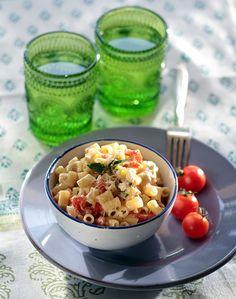Ditali with cherry tomatoes, Greek feta, and basil