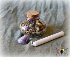 Witch Bottles have been used for hundreds of years for protection and spells. This listing is for a do-it-yourself kit. You'll get the glass jar, filled with appropriate herbs and resins, a stone for