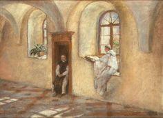 """Józef Mehoffer  """"Cystersi - krużganek opactwa w Szczyrku"""", olej na płótnie, 49 x 66 cm, własność prywatna"""