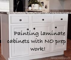 Kitchen Cabinets Painting Laminate Cabinets with NO PREP WORK. Pin now, use later. - A step by step tutorial on how to paint laminate cabinets with little to no prep work. This technique involves using primer, milk paint and a top coat, but no sanding. Painting Laminate Kitchen Cabinets, Painting Laminate Furniture, Kitchen Paint, Painting Cabinets, Kitchen Laminate, Laminate Cabinet Makeover, Paint Bathroom Cabinets, Cupboard Makeover, Bathroom Furniture