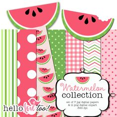 watermelon digital papers and clipart collection by hellolovetoo
