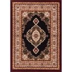 Dulcet Isfahan Medallion Black 9 ft. 3 in. x 12 ft. 6 in. Traditional Area Rug