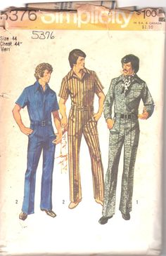 f3227ff05950 Simplicity 5376 1970s Mens Zip Front Jumpsuit Overalls by mbchills Vintage  Sewing Patterns