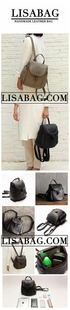 Handmade Black Top Grain Leather School Backpack Small Travel Rucksack  Casual Daypack SQ03 Leather School Backpack. LISABAG 6e7f70b12e