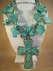 Christian Cowgirl Chunky Necklace Set - HowliteTurquoise Cross Western Jewelry