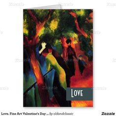 "Love. Customizable Fine Art Valentine's Day Greeting Cards. Artist: August Macke. ""Sunny Way"", Painting, circa 1913. Matching cards, postage stamps and other products available in the Holidays / Valentine's Day Category of the oldandclassic store at zazzle.com"