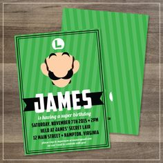 Luigi Printable Birthday Party Invitation | $12.00 | Amanda Franks Design
