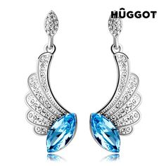 We present the Hûggot Angel Rhodium-Plated Earrings with Zircons Created with Swarovski®Crystals from the new collection of [[b] Hûggot jewellery! A wide range Wing Earrings, Girls Earrings, Gold Plated Earrings, Blue Earrings, Crystal Earrings, Turquoise Necklace, Dangle Earrings, Blue Crystals, Swarovski Crystals