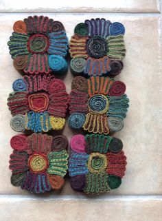wool stacked and rolled into jewelry Felted Wool Crafts, Felt Crafts, Textile Jewelry, Fabric Jewelry, Fabric Art, Fabric Crafts, Wool Mats, Wool Quilts, Felt Brooch