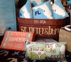 Showing our love for St. Petersburg, FL with this vintage bucket hand painted with St. Petersburg on it. Home Goods, Bucket, Hand Painted, The Originals, Create, Painting, Vintage, Accessories, Buckets