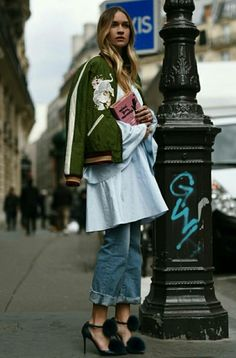 Bomber jacket and pom pom sandals #streetstyle