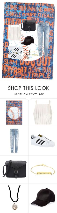"""Baseball game outfit"" by jadaramseyy on Polyvore featuring Topshop, Dsquared2, adidas, Aaron Basha and River Island"
