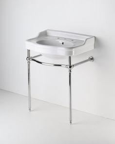 "Palladio Metal Round Two Leg Single Washstand 25 11/16"" x 18 7/16"" x 30 1/2"" Sink for powder room."