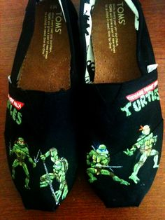 Teenage Mutant Ninja Turtles Customized toms, Black shoes with green turtles;  green, yellow, red, and yellow signs and letters - Photo Gallery - Bold Soles @Heidi Blobaum @Alex Peak Turley