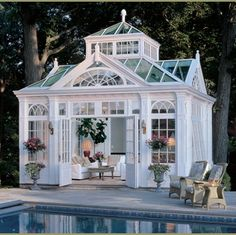 This is a great looking pool house painted to look like bronze. Of course, all I see is an awesome place to have a tea party!