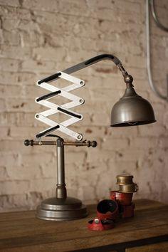 Industrial Vertical Scissor Table Lamp