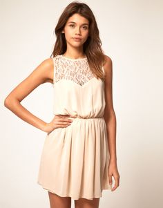 ASOS skater dress with lace cross back. Nice back detail. Available in nude, black and gree.
