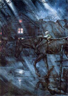 "Illustration by Anton Pieck for Selma Lagerlöf's ""The Wonderful Adventures of Nils"", 1940"