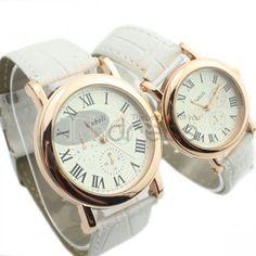 Branco pequeno mostrador do relógio casal cinto