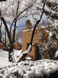 Snow and blue skies.... only in Santa Fe at Pueblo Bonito b!