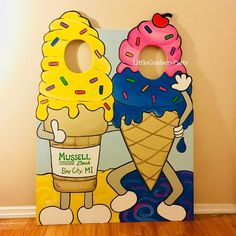 Ice Cream Display Board, Birthday Photo Booth Prop, Festival Face in Hole Photo Op Standin, Outdoor Decorations, Ice Cream shop King Cone - sarika - Helados Ice Cream Theme, Ice Cream Parlor, Photos Booth, Photo Booth Props, Birthday Photo Booths, Birthday Photos, Festival Face, Ice Cream Business, Pumpkin Birthday Parties