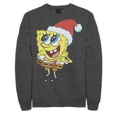 Men's Nickelodeon SpongeBob SquarePants Santa Hat Sweatshirt, Size: Large, Dark Grey